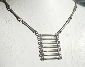 Steampunk Silver Ladder Necklace