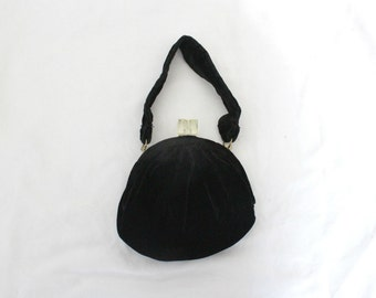 1940s Lucite + Velvet Purse | Vintage 50s Black Mini Evening Handbag