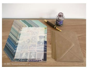 The Blues Notepaper Set - A5 Writing Paper, Postage Stamp Art Design