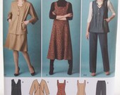 Misses' Career Wardrobe, Simplicity 2539 Sewing Pattern, Flared Jumper Dress, Vest, Wide Leg Pants, Fashion Jacket Plus Size 20W - 28W UNCUT