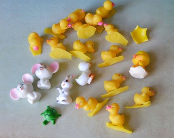 Vintage Easter Miniature Ducks Mice Rabbit Turtle for Crafts 20 pc