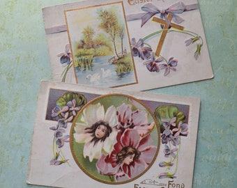 Antique 1911 Easter Postcards Flower Girls Violets Swans
