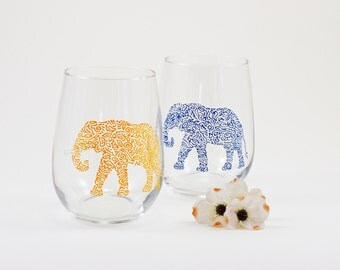 Elephant glasses - Hand painted stemless white wine glasses - Set of 2 - Safari Collection in yellow and blue