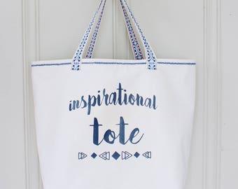 Inspirational Tote - Handbag - Beach Bag - Lined Tote with Pocket