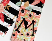 Camera Strap Cover- lens cap pocket and padding included- Monogrammed Pop Floral