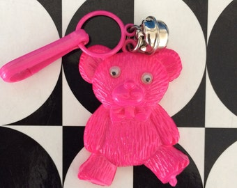 Vintage 80's Plastic Bell Clip Charm Pink Teddy Bear with Google Eyes Toy Necklace Jewelry Pendant