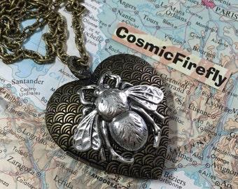 Big Brass Heart Locket Large Silver Bee Locket Steampunk Jewelry Valentine's Day Gift
