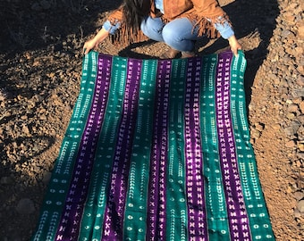 """Purple & Teal Green Tie Dye Vintage African Mud Cloth, 44"""" x 62"""" / Bogolanfini Textile from Mali, West Africa Textiles, Bohemian, Home Decor"""