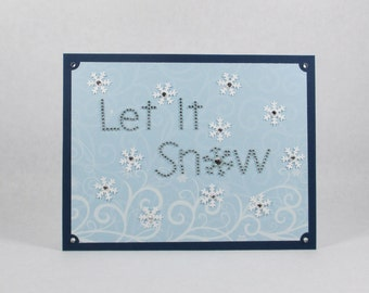 Holiday cards, winter cards, merry Christmas cards, snowflakes, let it snow