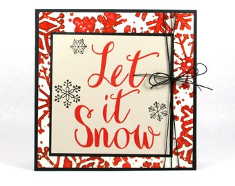 Let it snow cards, Christmas cards, Holiday cards, winter cards, Merry Christmas cards, snowflakes, modern Christmas cards