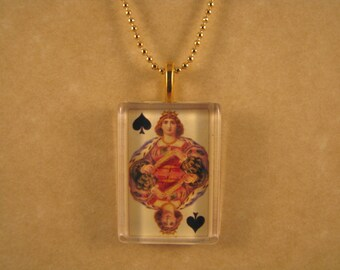 Antique Playing Card, Queen of Spades Card, Glass Pendant, Card Playing Jewelry, Card Playing Pendant, Rectangle Pendant, 24 Inch Ball Chain