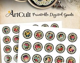 1 inch (25mm) and 30 mm Circle Images FLORAL JOY Printable Download Digital Collage Sheet for pendants bottle caps round bezel cabs ArtCult