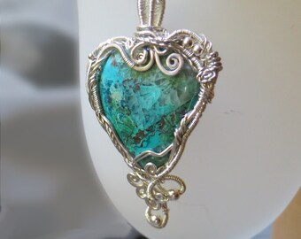 Big Blue Chrysocolla Heart pendant - sterling siler wire and natural gemstone.