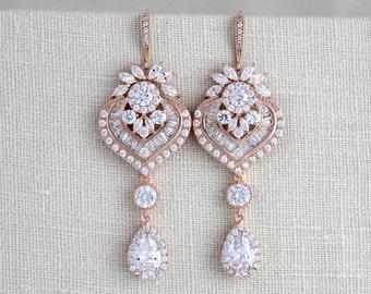 Crystal Bridal earrings, Wedding jewelry, Wedding earrings, Chandelier earrings, Statement earrings, Art Deco, Swarovski earrings, EMMA