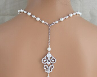 Bridal backdrop necklace, Bridal jewelry, Pearl Wedding necklace, Back necklace, Bridal necklace, Statement necklace, Back drop necklace