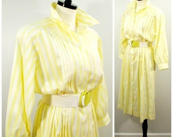 Vintage Shirt Dress, 80s Belted Shirt Dress, Yellow and White Stripe Belted Dress, Striped Cotton Button Front Collared Shirt Dress, Size L