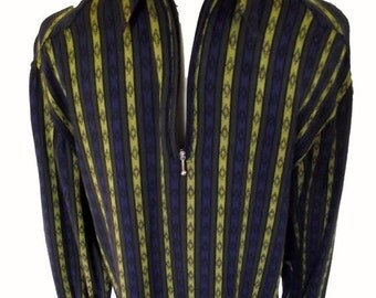 Sale 90s Mens Shirt /  Vintage Pullover Shirt / Striped Pattern / Blue Chartreuse / Sz S to Sz M