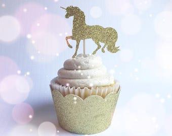 Unicorn Cupcake Toppers| Unicorn Picks| Gold Glitter Toppers|  Unicorn Parties| Unicorn Toppers| Unicorn Decorations| Unicorn Invite