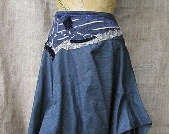 Blue denim hitch skirt