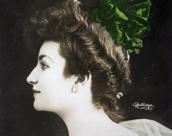 Antique theatre photo postcard, Antique French actress photo postcard, Antique Edwardian photo postcard, pretty girl photo postcard