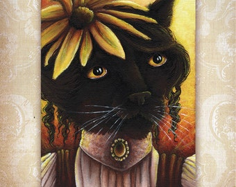 Black Cat Fantasy Art Black Eyed Susan Flower 5x7 Fine Art Print