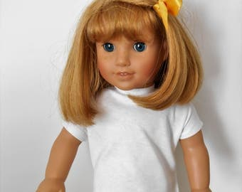 """White cotton knit shirt with cap sleeves fits 18"""" dolls like American Girl"""