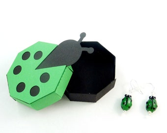 Handmade Ladybug Earrings and Handmade Ladybug Gift Box.   Dangle Earrings.  Green Ladybug or Ladybird Glass Earrings.