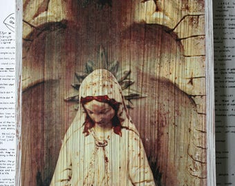 Virgin Mary, Madonna, Statue, 6 x 8, Original, Art, Mixed Media, Miniature, Photography, Upcycled, Wood, Sepia, Stained