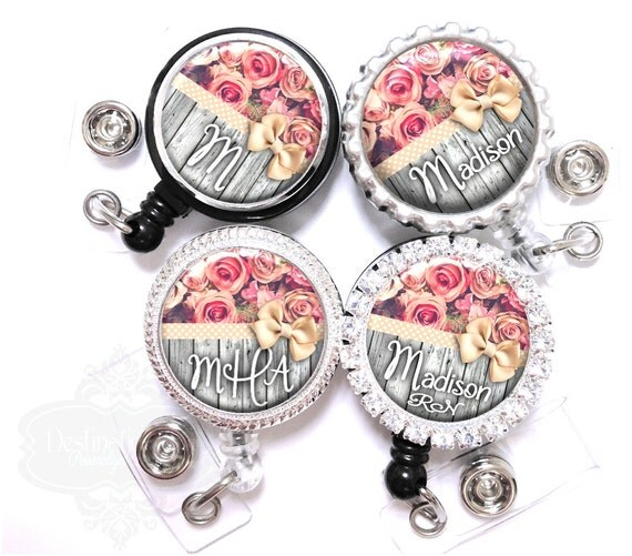 Badge Holder - Pink Roses and Polka Dot Ribbon on Gray Fence Retractable Nurse Lanyard Id Reel with Name, Monogram, Occupation Title (A391)