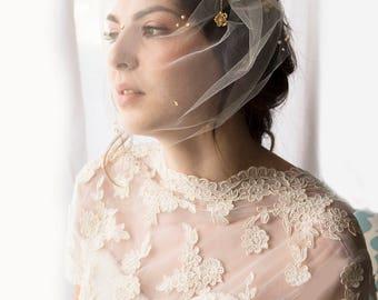 tulle birdcage veil, blusher veil, birdcage veil, tulle blusher veil, fascinator veil, gold veil, full birdcage veil, pearl veil, veil,