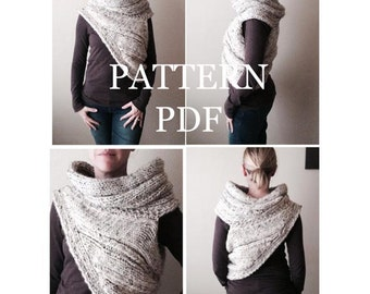 PATTERN PDF - Knitting Pattern for DIY Panem Katniss Inspired Cowl - Two Looks - Easy Knitting Pattern - customizable sizes