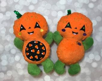 "Handmade Halloween Pumpkin Plush Doll 12"" or 10"" Size / Softie Doll / Halloween Plush / Halloween Decor / Ready to Ship"