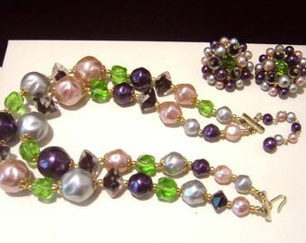 VTG Japan double strand bead Necklace  Earrings purples, pinks, gray  greens