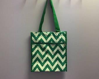 Personalized Kelly Green Chevron Square Tote Bag