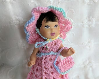 "Sweet 3 pc Crocheted Dress Hat & Purse in Pink fits 4"" Nikki Dolls   #06"