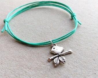 SALE -Silver Sparrow bracelet, Sparrow anklet or Sparrow necklace -waxed cotton cord -8 colors -Best Friends Bracelet -Tiny Bird Jewellery