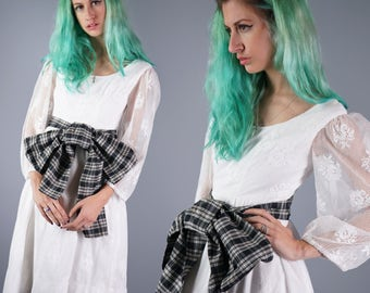 60s Lace Dress 1960s Joanna Nelson Dress White Lace Dress with Plaid Taffeta Bow California Designer