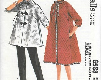 McCalls 6588 UNCUT 1960s Chinese Style Jacket Robe and Pants Vintage Sewing Pattern Size 12 Bust 32 Maternity