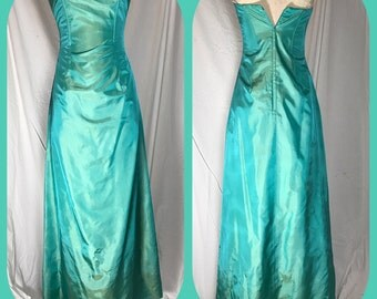 Gunne Sax by Jessia McClintock Aqua Strapless Maxi Dress - Size 3 Small
