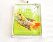 lucky fish necklace, 1987 postage stamp, ornamental pond fish pendant, hipster jewelry
