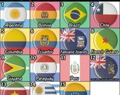 """South America Flags Countries 1.5"""" Pinback Buttons Pins Badges Pinbacks Magnets Handmade Homemade ONE & a HALF INCH"""