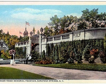 Antique New York Postcard - The Trask Fountain in Congress Park, Saratoga Springs (Unused)