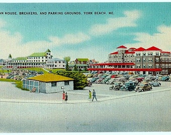 Vintage Maine Postcard - Ocean House and Breakers Hotels from the Parking Grounds, York Beach (Unused)