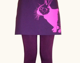 SALE Dutch Rabbit mini skirt - eco neon pink screenprint on an upcycled purple mini skirt - size Small, OOAK