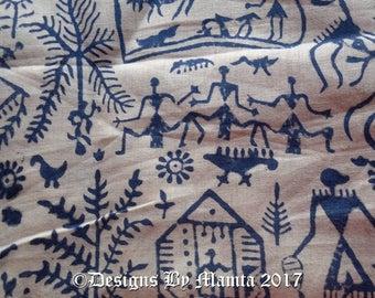 Tribal Print Cotton Fabric, African Block Print Fabric, Lightweight  Cotton Fabric, Blue Indian Warli Print Fabric, Handmade Cotton Fabric