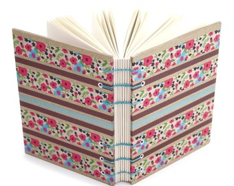 Flower Stripe Journal - handmade by Ruth Bleakley