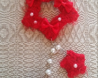 2-Way Red Organza Bow Fuzzy Shooting Star Barrette/Pin