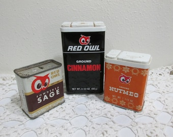 Red Owl Spice Tins Set of 3