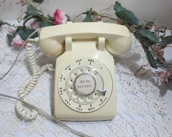 Telephone Rotary Dial Pastel Yellow Desk Retro Decor
