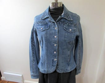 Vintage Denim Jacket Swarovski Crystal Bling Christine Alexander Size Small